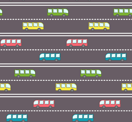 Cute bus on the road pattern, kids pattern with buses on the road with straight and dashed stripe Illustration