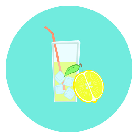 Glass of fresh yellow lemonade with ice icon, lemon fruit Illustration