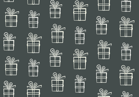 Motif mignon, motif blanc de boîtes à cadeaux, joli motif de silhouette de boîte présente, papier d'emballage