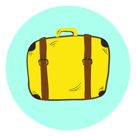 Cute yellow hand drawn suitcase, retro travel bag