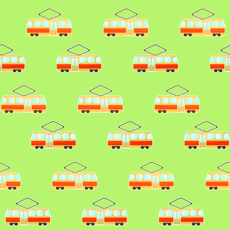Cute colorful tram pattern, beige and red streetcar on green background