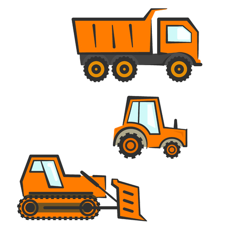 Flat orange industrial transport set. Dozer, tractor and dumper