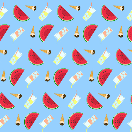 ice tea: Summer freeze pattern with lemonade, ice cream and watermelon Illustration