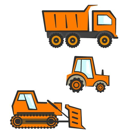 earth mover: Flat orange industrial transport set. Dozer, tractor and dumper