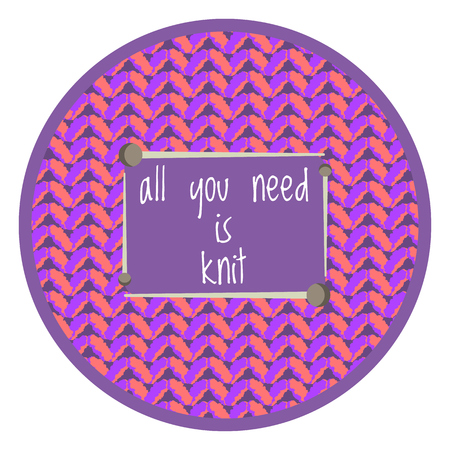 Cute purple knitting background with love knit text in needles frame