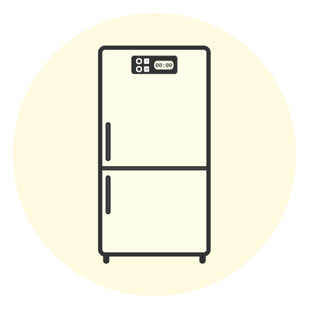 freeze: Flat white refrigerator icon, appliance vector symbol, kitchen equipment