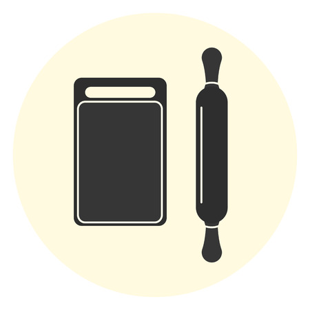 Flat vector black cutting board and rolling pin icons, kitchen equipment Illustration