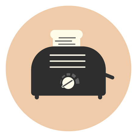 ready cooked: Flat vector monochrome toaster with toast icon, sandwich equipment, bread baker sign, kitchen appliance symbol