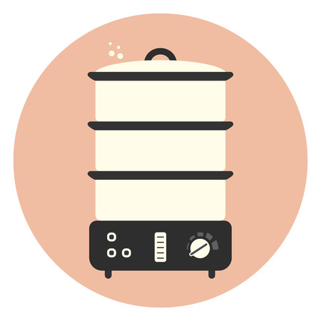 Flat food steamer icon, monochrome kitchen appliance, equipment for preparing healthy vegetables dishes  イラスト・ベクター素材