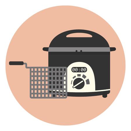 Flache Vektor elektrische Hausfritteuse Icon, Chip-Pan, Küchengerät, Frittiermaschine.