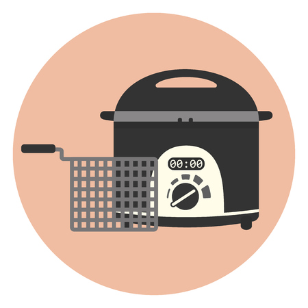 Flat vector electric home fryer icon, chip pan, kitchen appliance, deep frying machine. Illustration