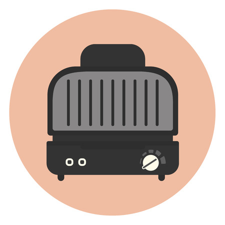 Electric grill and sandwich press icon, compact kitchen grill, monochrome appliance symbol in flat style