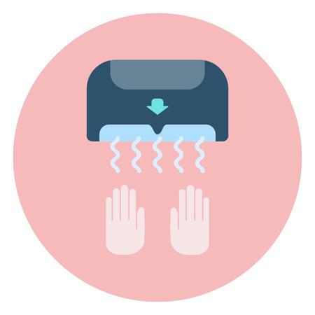 toilet: Flat blue hand dryer icon, bathroom and restroom equipment Illustration