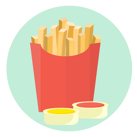 Flat vector french fries potato in red box with ketchup and mustard sauce in dipping dish. Tasty cartoon colorful take away fastfood symbol 向量圖像