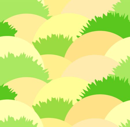 heather: Cute steppe seamless pattern with grass bushes and sand. Nice herbal heath green and yellow texture for textile, covers, wallpaper, banners, surface, textile Illustration