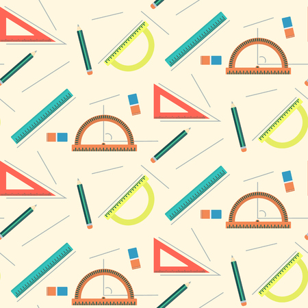 school class: Cute school mathematics pattern with rulers, pencils, lines and erasers. Education texture with geometry and drawing ornament for kids school textile, covers, backgrounds, bookstore equipment, surface