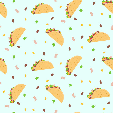 Cute cartoon colorful seamless pattern with mexican tacos, corn, lettuce and kidney bean. Nice fastfood pattern for textile, cafe and restaurant wrapping paper, covers, banners, background, wallpaper Vettoriali