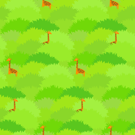 Cute seamless pattern with high giraffes hiding in the green tropical forest bushes. Nice childrens pattern for textile, wrapping paper, wallpaper, background, covers, banners Illustration