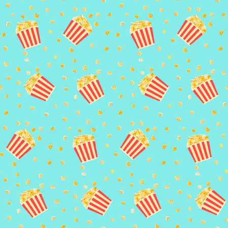 Bright colorful yellow popcorn in red striped boxes on blue background seamless pattern. Cinema food texture for banners, covers, print, textile, backgrounds, wallpaper Illustration