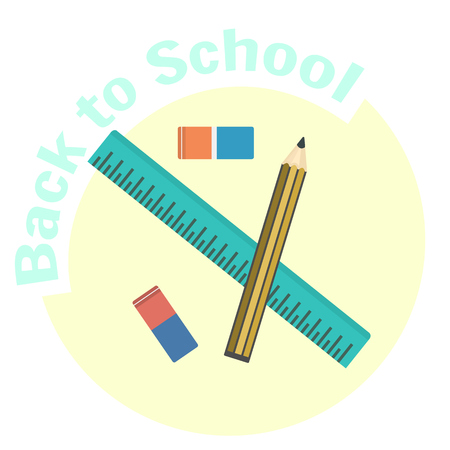 millimeters: Flat vector ruler, pencil and eraser icons. School and office tools for geometry, drawing and draftsmanship. Education equipment symbol. Cute cartoon study symbol