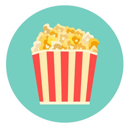 Flat vector colorful striped box of tasty caramelized or cheese popcorn icon. Movie cinema corn symbol. Illustration