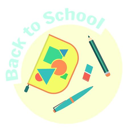 Flat style colorful vector pen case, pencil, pen and eraser.