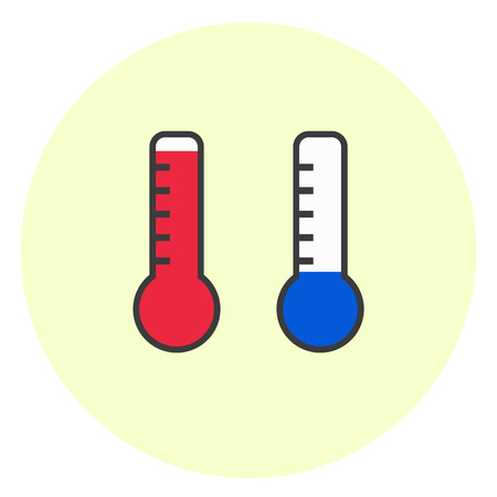 Flat simple hot and cold temperature icons. Minimalistic weather thermometer symbol Illustration