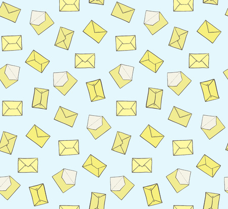 Cute hand drawn closed and opened yellow envelopes on blue background seamless pattern. Post office mail texture for textile, wrapping paper, banners, covers, surface