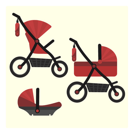 Flat red baby carriage transformer icon. Vector childrens pram 3 in 1 symbol including carriage, stroller and safety car seat. Cute colorful baby girl and boy unisex transport symbol