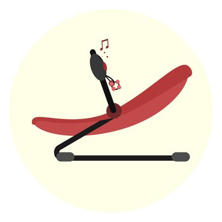 Platte rode vector baby uitsmijter pictogram. Kids bounce lounge stoel symbool. Speel- en rustruimtetoestellen voor kinderen. Moeders verpleeghulp