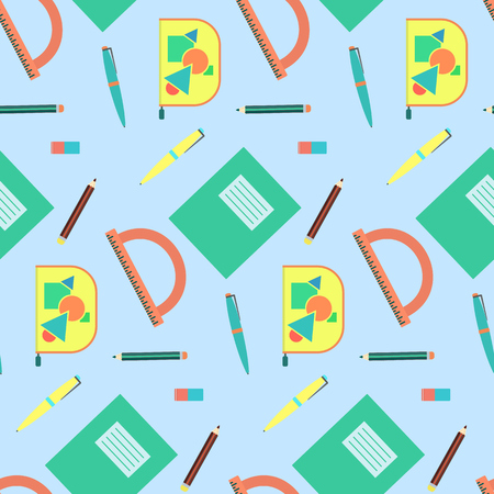 writing instruments: Cute cartoon school equipment seamless pattern. Nice colorful texture with education tools for kids textile, background, wallpaper, banner, cover, surface