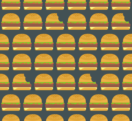nibbled: Nice colorful hamburgers and nibbled burgers seamless pattern on dark background. Nice american fastfood pattern for textile, cafe and restaurant wrapping paper, covers, banners, wallpaper Illustration