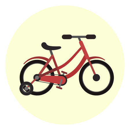 Flat red kids four wheels bicycle with two big and two small wheels icon. Nice colorful vector children transport symbol. Quadro scooter, bike