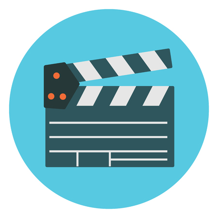 Flat cartoon colorful vector cinema clapper icon. Movie production symbol for design, logotype, banners, prints, surface