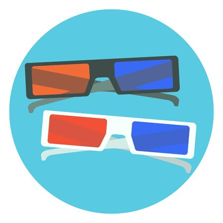 glass reflection: Flat vector colorful black and white 3d cinema glasses. Nice cartoon 3d cinema glasses with red and blue lens and black and white frames for design, logotype, banners, prints, surface Illustration