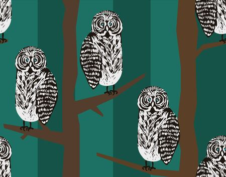 owl illustration: Seamless pattern with tawny owls in night forest. Illustration