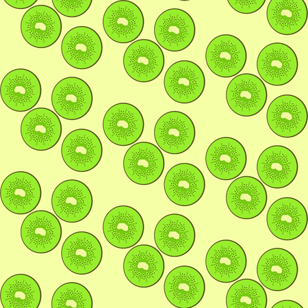 Seamless pattern with green tasty kiwi split on circles. Summer fruits texture for textile, wrapping paper, covers. background, design, web interface