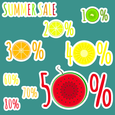 Bright colorful summer sale stickers with fruits zero circles. Cute sticker emblems with kiwi, lemon, orange , pineapple and watermelon circles for online and offline shop sale design, banners, covers Illustration