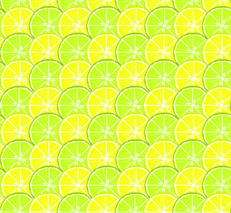 Bright seamless citrus pattern with yellow lemon and green lime circles. Nice summer texture for textile, wrapping paper, wallpaper, background, cover, banner, web, design