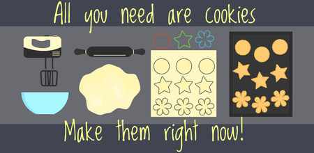 Flat home bakery recipe infographics, how to make home made cookies for web design, banner, cookbook, brochure template, card