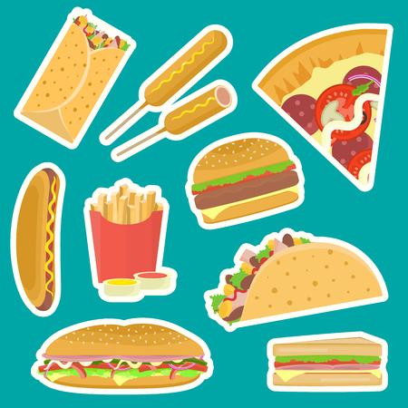 Bright vector fastfood stickers set including hamburger, pizza, sandwich, taco, hotdog, corndog on blue background. Tasty flat cartoon colorful fast food symbols for cafe, bar, restaurant menu design. Illustration