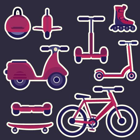 Vlakke paarse en violette geplaatste het stadsvervoerstickers van de beeldverhaalmanier. Jeugd stedelijk ecologisch transport