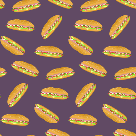 sub menu: Seamless pattern with colorful sub sandwiches on violet background. Nice fast food texture for textile, wallpaper, cover, wrapping paper, banner, bar and cafe menu design Illustration