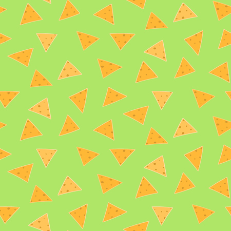 Mexican fastfood seamless pattern with nachos on green guacamole background. Nice spanish fastfood texture for textile, wallpaper, background, cover, banner, bar and cafe menu design