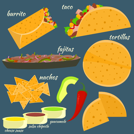 Flat colorful vector traditional mexican food set with burrito, fajitas, tacos, tortilla, nachos. Bright cartoon symbols for for cafe, bar, restaurant menu design