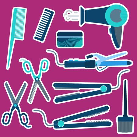 Flat vector blue hairdressing stickers set including irons, scissors, dryer, combs for barbershop, salons, hairdresser shops banners design Illustration