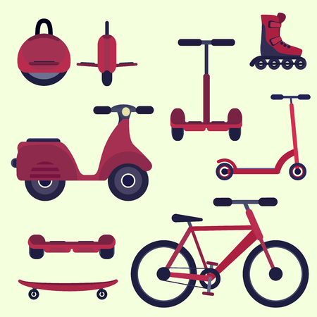 Flat cherry red fashion youth city transport set. Modern alternative city transport. Ecological teenager transport, isolated symbol