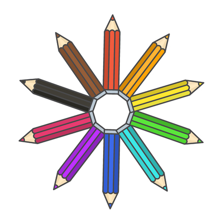Flat bright colorful pencil symbol, colour pencils organized in color wheel circle. Rainbow drawing equipment