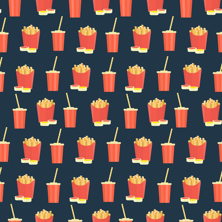 Seamless pattern with cola and french fries on dark background. Cute fast food texture for textile, cafe and bar covers, banners, wrapping paper, wallpaper, menu design