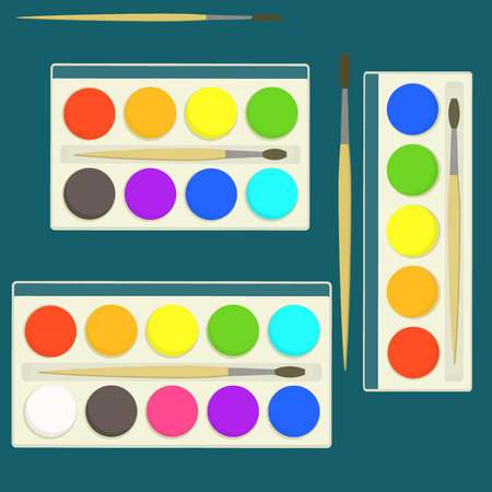 Set of bright flat vector kids watercolor paints in box for drawing lessons with different colors palette.